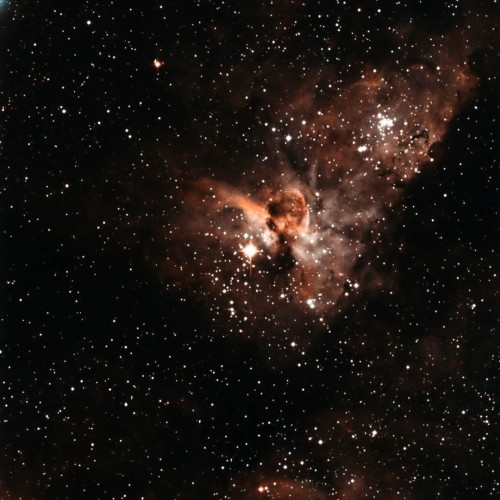 Keyhole Nebula, a detail of the Eta Carinae Nebula in corrected false color (based on g' r' i' data), acquired by the telescope of the University of Antofagasta (Chile). Credit: U. de Antofagasta.