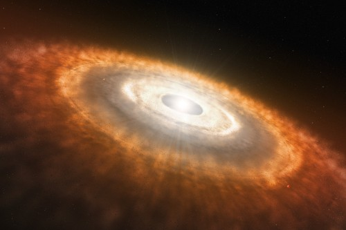Artist's impression of a baby star still surrounded by a protoplanetary disc in which planets are forming. Using ESO's very successful HARPS spectrograph, a team of astronomers has found that Sun-like stars which host planets have destroyed their lithium much more efficiently than planet-free stars. This finding does not only shed light on the low levels of this chemical element in the Sun, solving a long-standing mystery, but also provides astronomers with a very efficient way to pick out the stars most likely to host planets. It is not clear what causes the lithium to be destroyed. The general idea is that the planets or the presence of the protoplanetary disc disturb the interior of the star, bringing the lithium deeper down into the star than usual, into regions where the temperature is so hot that it is destroyed.